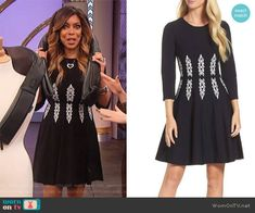 8b055ab58992 Wendy s black and white knit dress on The Wendy Williams Show. Outfit  Details  https