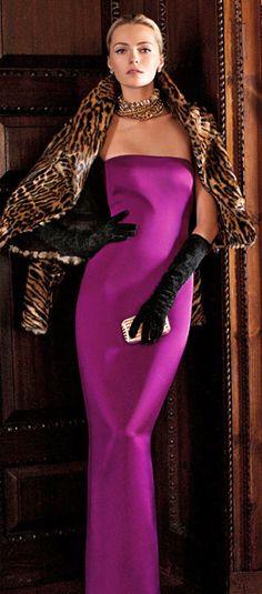 Ralph Lauren, glamorous magenta gown with leopard shaw, long black gloves.....†.....❥slcj❥♐︎