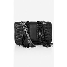 Express Fringe Quilted Chain Strap Shoulder Bag (240 EGP) ❤ liked on Polyvore featuring bags, handbags, shoulder bags, black, quilted shoulder bag, fringe purse, long strap purse, long strap shoulder bag and chain strap purse