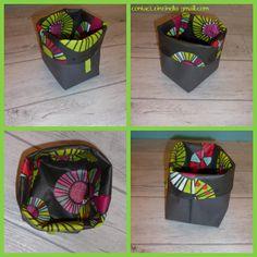 Corbeille cube en tissu enduit.  A suivre sur : www.facebook.com/ZinZiNOL