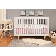 Baby Mod Marley 3-in-1 Convertible Crib, White and Natural - named as affordable non toxic option at WalMart