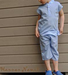 Hellevaatteet pojalle vanhasta kauluspaidasta. Recycling dress shirt. Summer clothes for boy. Sewing.