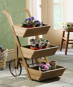 Wheeled Wooden Flower Cart Plant Display Planter