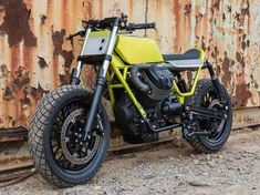 Hugo Eccles began with a Moto Guzzi Bobber, stripping away 86 pounds to create a lime green Fat Tracker to be shown at this week's Handbuilt Show in Texas. V9 Bobber, Guzzi V9, All Weather Tyres, Moto Guzzi Motorcycles, Fat, San Francisco, Wheels, Design, Motorbikes