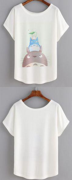 Cartoon Print White T-shirt