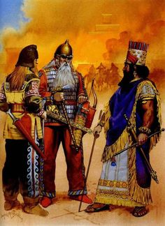 """Nabopolassar, king of Babylon, and the king of Scythia at the fall of Nineveh, 612 BC"", Angus McBride Ancient Mesopotamia, Ancient Civilizations, Ancient History, Art History, Persian Warrior, Military Costumes, Ancient Persia, Ancient Near East, Classical Antiquity"