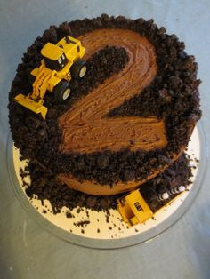 Second Birthday Cakes, Truck Birthday Cakes, Easy Boy Birthday Cake, Dump Truck Cakes, Tractor Birthday, Digger Birthday Cake, Second Birthday Ideas, Birthday Banners, 25th Birthday