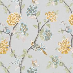 A totally stunning tree of life floral with beautiful oversized blooms and pretty birds. The colours are deep soft dove grey, blush pink, sage green, warm burn