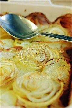 Potatoes a la Boulangère. French potato dish, basically stock-infused alternating layers of potato and onion