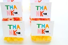 FREE printable Thank-You tags: colorful favor bag toppers | Julep