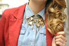 Dress up your denim shirt with a chunky necklace.
