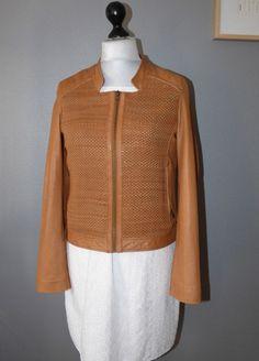 Blouson cuir tressé camel IKKS - Taille XL- prix initial 475 euros #Autresvestesblousons
