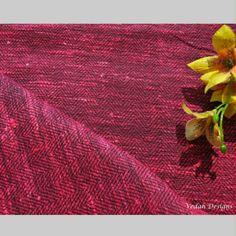 Hot pink Homespun handloom herringbone silk fabric