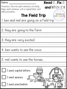 Free 20 fix it up pages. These are great for students in kindergarten first grade and second grade. Students get extra practice reading editing and rewriting the reading passages. 2nd Grade Worksheets, Writing Worksheets, Writing Activities, Area Worksheets, Work On Writing, Sentence Writing, Handwriting Practice Sentences, Hand Writing, Kindergarten Writing