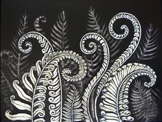 Ferns Unfurling Paper clay/Mixed Media on Canvas Art And Illustration, Illustrations, Botanical Illustration, Maori Art, Paperclay, Ink Art, Clay Art, Printmaking, Collages