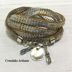 Five-wrap beaded leather bracelet, Leather wrap bracelet, Beaded wrap bracelet by CrosslakeArtisans on Etsy