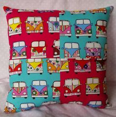Mini Patchwork Campervan Retro mini cushion pink by BenjisBobbins
