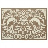 Damask Taupe Wool Rug for Kids Bedrooms and Playrooms