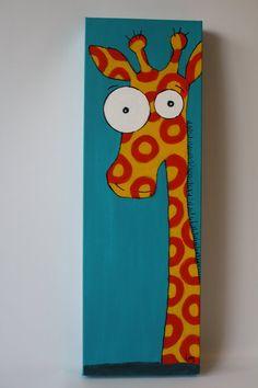 Peinture acrylique pour enfants Toile préparée avec gesso 100% coton / cotton  Belle girafe très colorée, parfait pour chambre denfant, garderie, salle de jeux  Dimensions: largeur: 8 hauteur: 24 épaisseur: 1.5