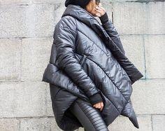 NEW Winter Warm Asymmetric Extravagant Black Coat / от Aakasha