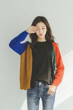 Big Button Color Cardigan | Korean Fashion