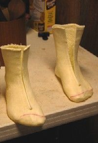 Construction of a Foot Mold using a casting sock (specially designed to make shoe lasts), but I wonder if the same can be done using a regular cotton sock and some Plaster of Paris, kinda what doctors do to set a broken bone. After removing the cast, fill with Plaster of Paris to make a perfect copy of your feet.
