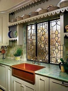 Custom made to order windows as featured in Old House Journal Magazine I fabricated this set of 3 windows for a customers Spanish Revival Kitchen remodel in Texas using h Copper Farmhouse Sinks, Farmhouse Style Kitchen, Rustic Kitchen, Primitive Kitchen, Spanish Kitchen Decor, Copper Kitchen, Farmhouse Remodel, Kitchen Modern, Spanish Style Kitchens
