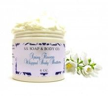 Natural Spring Flowers Whipped Body Butter with Lavender Ylang Ylang Vanilla Jasmine & Rose Essential Oils