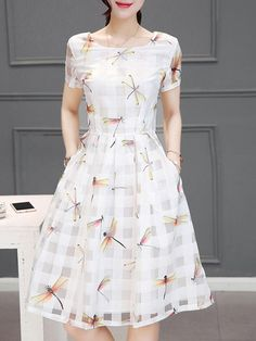 Women's Pocket Hollow Out Dragonfly Printed Skater Dress Dress Outfits, Casual Dresses, Short Dresses, Girls Dresses, Skater Dresses, Pretty Dresses, Beautiful Dresses, Fashion Wear, Fashion Dresses