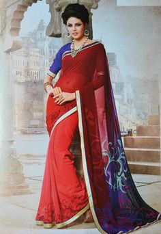 Red Color Wrinkle Chiffon Printed Sarees : Daffodil Collection YF-21995