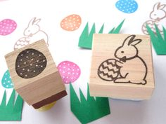 Easter bunny stamp, Egg rubber stamp, Japanese stationery, Easter decoration, Cute bunny stamp, Hobonichi stamp, Handmade card kit, Custom by JapaneseRubberStamps on Etsy