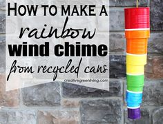 How to make a rainbow wind chime from recycled cans - perfect for St. Patrick's Day or springtime.