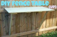 A DIY fence table is great for BBQs or just another surface to set drinks on. | 41 Cheap And Easy Backyard DIYs You Must Do This Summer by Naturalmama22