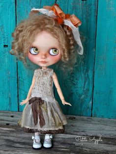 Blythe doll outfit *Forest chic* - OOAK vintage antique embroidered cotton and silk