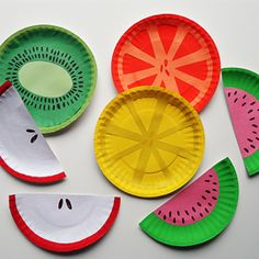 Use paper plates, paint and construction paper to create these fun and colorful pieces of fruit! Great for a summertime craft or party decor.