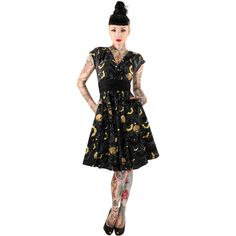 Inked Boutique - Gone Batty Dress Black Bats Stars Moons Goth Gothabilly Rockabilly www.InkedBoutique.com
