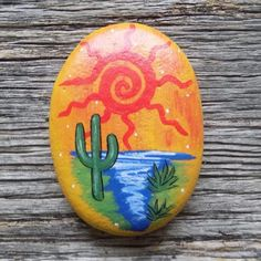 Desert Oasis Painted Rock,Decorative Accent Stone, Paperweight by HeartandSoulbyDeb on Etsy Rock Painting Patterns, Rock Painting Ideas Easy, Rock Painting Designs, Pebble Painting, Pebble Art, Stone Painting, Painting Art, Stone Crafts, Rock Crafts