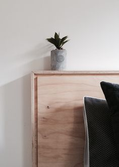 DIY Plywood Bed head. Shadow set joinery. Bunnings $56.00 plus glue and screws