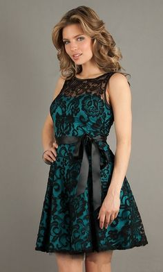 Modest Black Teal Lace Dress Short A Line Wide Straps High Neck $99.99