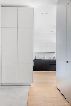Minimal Apartment, Residential Complex, Villa, Architect Design, Living Room Kitchen, Apartment Interior, Large Windows, Grey Fabric, White Walls