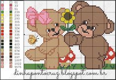 Teddy bear x-stitch Cross Stitch Needles, Cute Cross Stitch, Cross Stitch Charts, Cross Stitch Designs, Cross Stitch Patterns, Perler Bead Emoji, Chicken Scratch, Animal Crackers, Tapestry Crochet