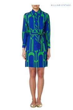 d60cf996a55c A Lanvin dress from circa 1975. Constructed in blue crepe, and featuring a  bold