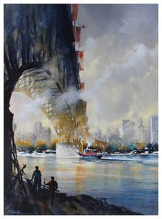 granville street bridge - vancouver - Watercolor - Thomas Schaller