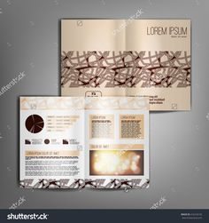 Beige business brochure design template with abstract pattern. Vector flyer layout, cover, poster design.