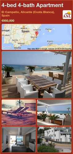 Apartment for Sale in El Campello, Alicante (Costa Blanca), Spain with 4 bedrooms, 4 bathrooms - A Spanish Life Alicante, Murcia, Apartments For Sale, Seville, Private Pool, Malaga, Perfect Place, Spain, Layout