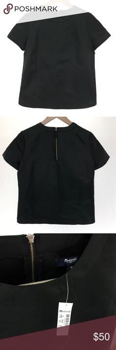 "Madewell Satin Tee A basic black top to go with everything. Dress it up or down.  New with retail tag Size Medium Approximate measurements Bust: 40"" Length: 23"" Madewell Tops"