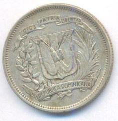 Republica Dominicana Moneda De 25 Centavos De Plata 1944