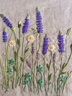 Pretty lavender embroidery on linen