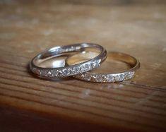 14K Gold Pave Diamond Band Womens Wedding Band Diamond Wedding
