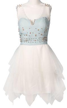 White Contrast Denim Lace Rivet Lace Dress